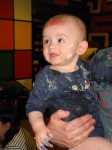 Santi soon got stuck in and was covered in goo!