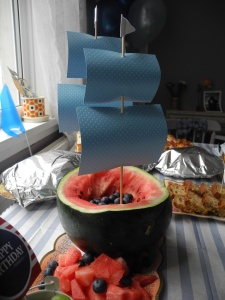 Nautical party food watermelon boat